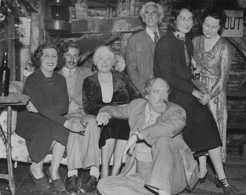 Elspeth Fox Pitt, née Phelps, Bertrand Russell, Augustus John and others in 1934