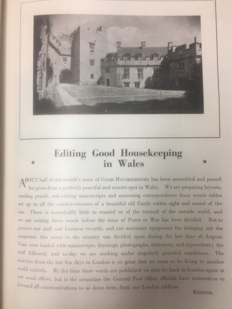 A letter from Alice Head explaining the move of the Good Housekeeping team to St. Donat's in Wales in 1939.