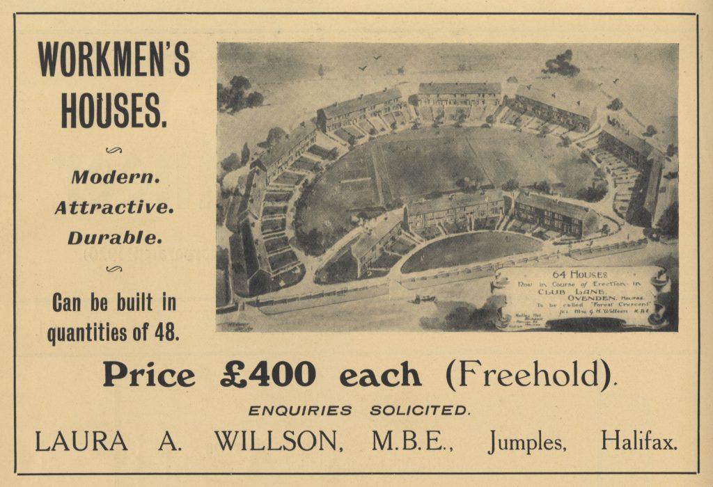 Advertisement for Laura Annie Willson's first housing scheme in Ovenden, Halifax, 1925