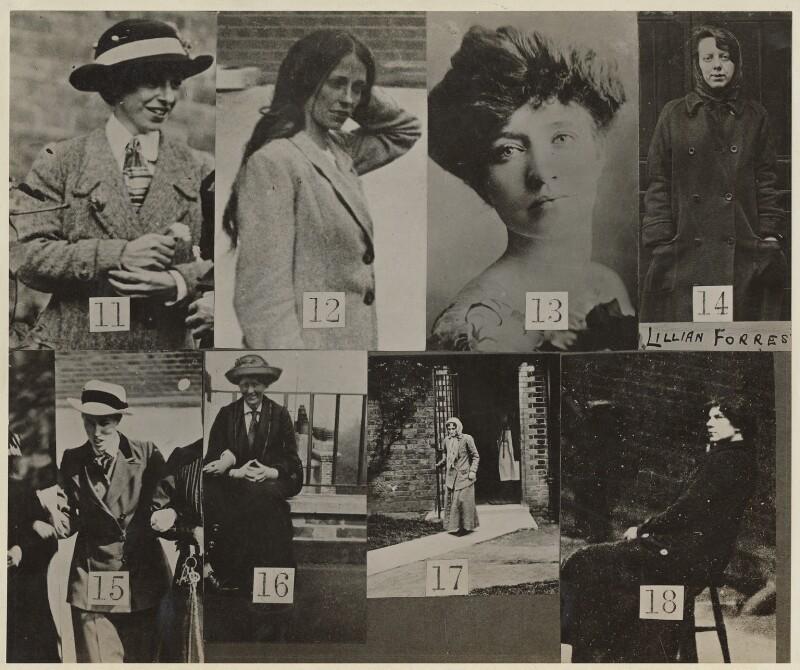 Surveillance photographs of suffragettes showing Jennie Baines at no.17