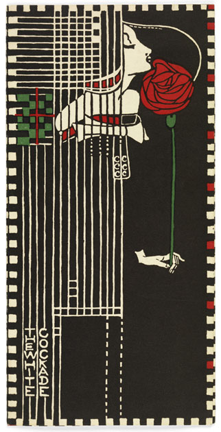 Menu for Kate Cranston's White Cockade Restaurant, designed by Margaret Mackintosh.