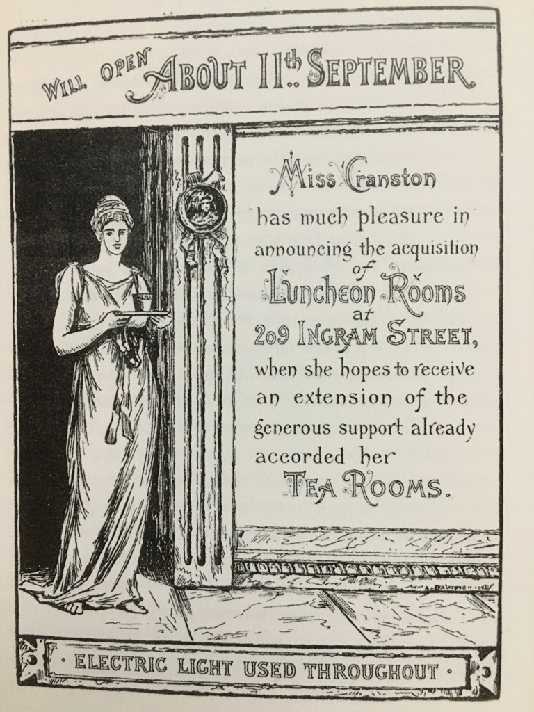 Advertisement for the extension of Kate Cranston's Ingram Street Tea Rooms in 1888.