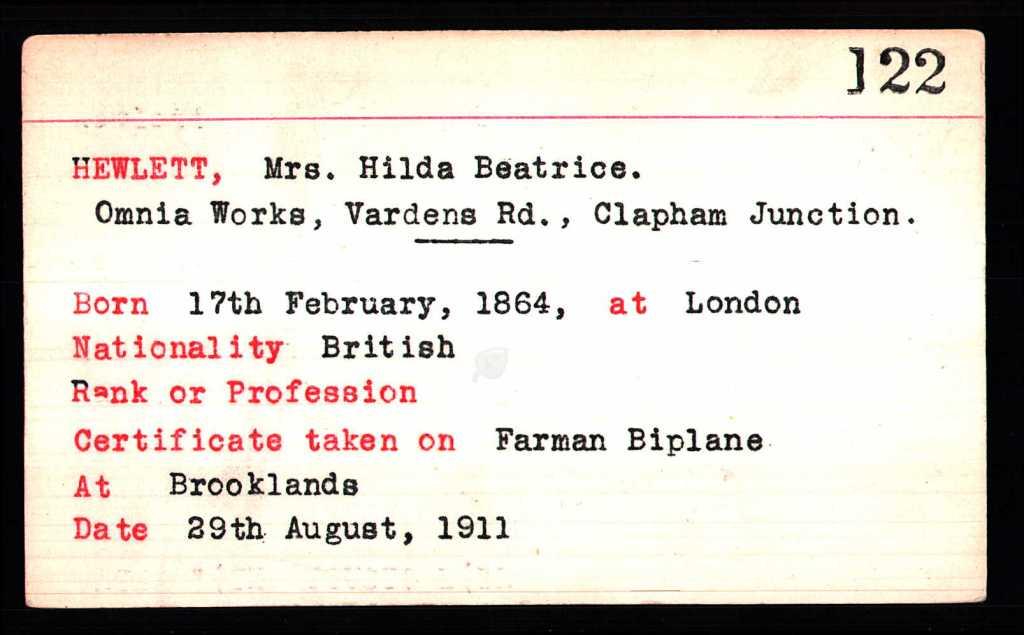Hilda Hewlett's aviation licence