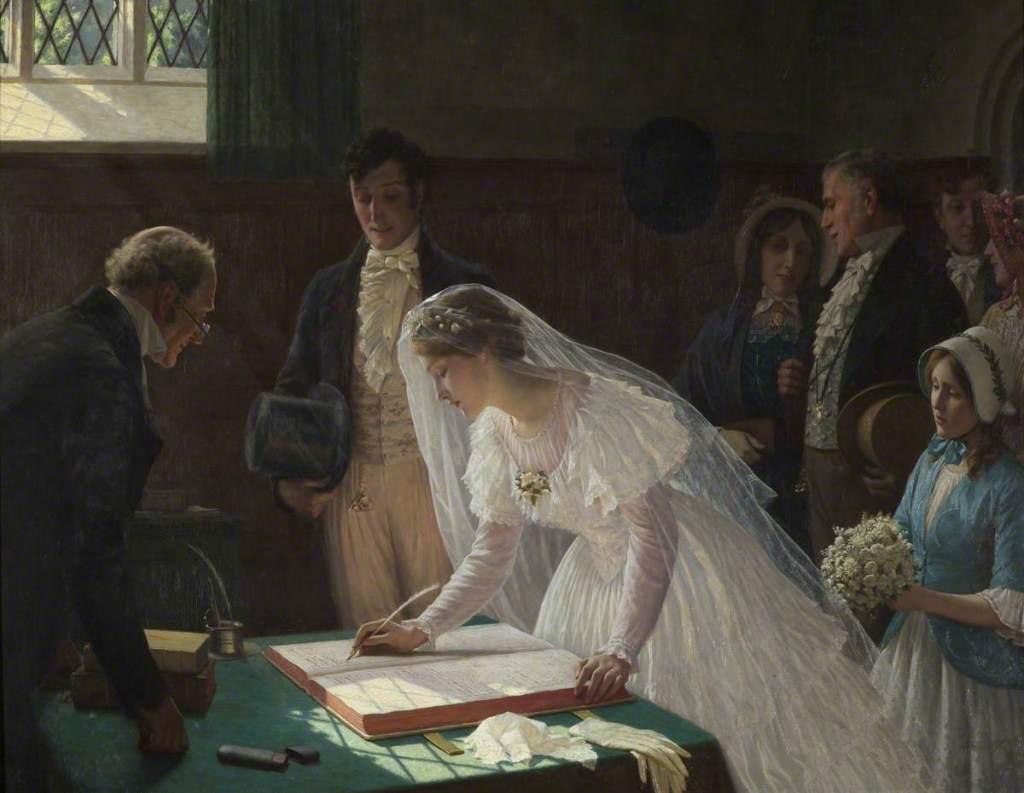 The Wedding Register by Edmund Blair Leighton (1920)