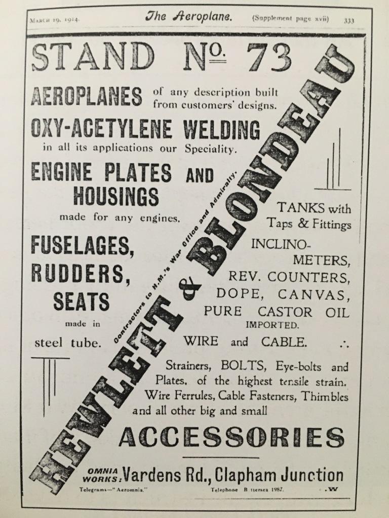 Advertisement for Hewlett & Blondeau in 1914