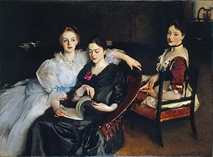 The Misses Vickers by John Singer Sargent (1884) showing Clara Vickers, later Clara Skipwith, on the right, who was later involved in the Women's Tax Resistance League
