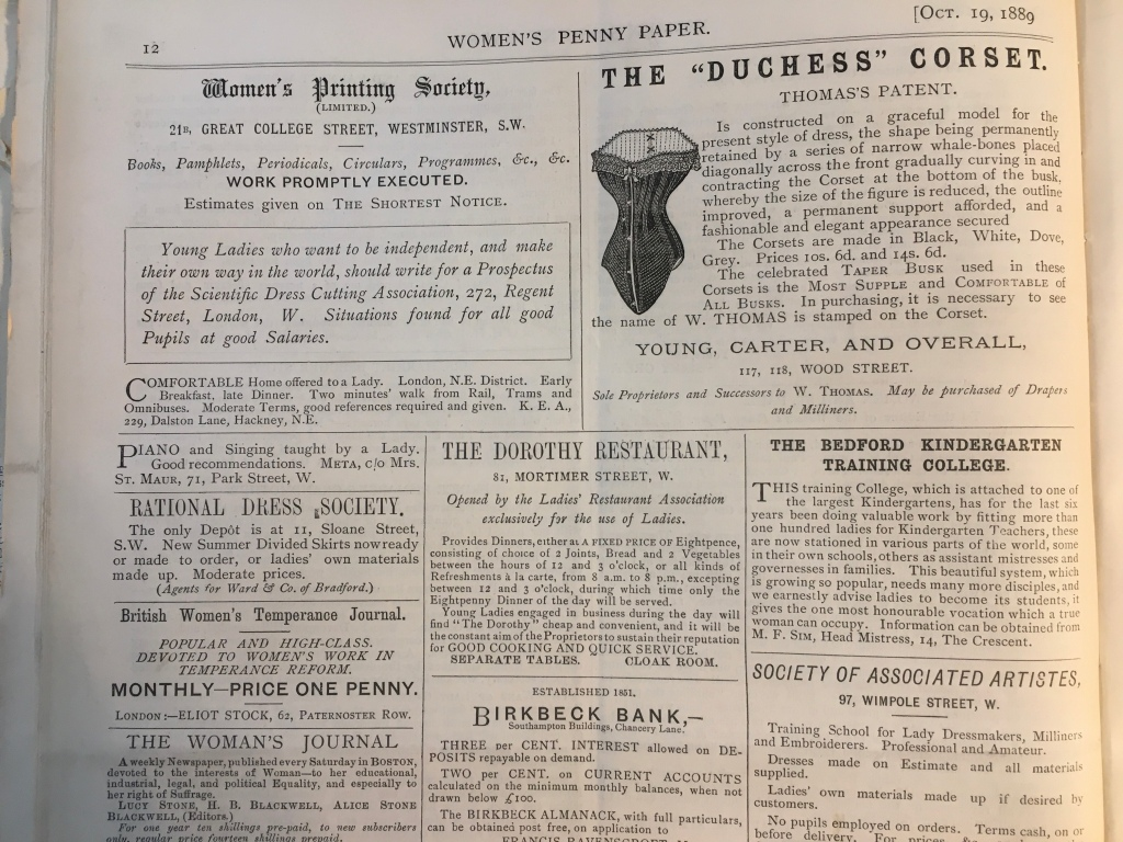 Example of a page of advertising from the Women's Penny Paper, owned and edited by Henrietta Muller.