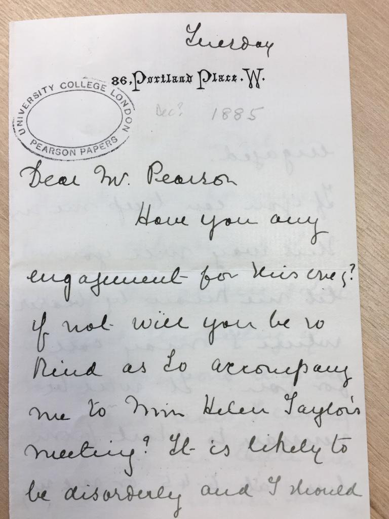 Letter from Henrietta Muller to Karl Pearson