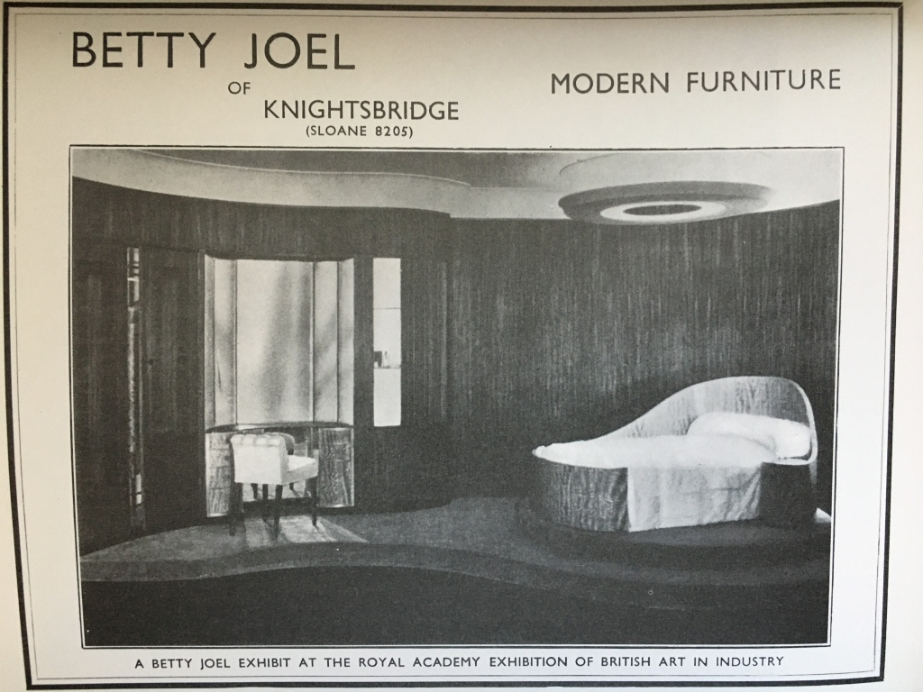 Betty Joel's prize winning bedroom set from the 1935 exhibition, 'British Art in Industry' at the Royal Academy.
